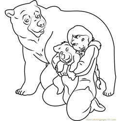 Brother Bear having Love Free Coloring Page for Kids