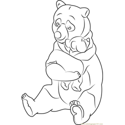 Old Lady Bear Free Coloring Page for Kids