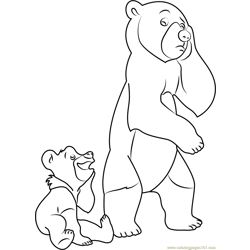 Sad Brother Bear Free Coloring Page for Kids