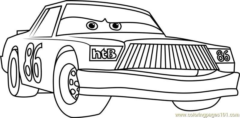 Chick hicks from cars 3 coloring page free cars 3 for Cars three coloring pages