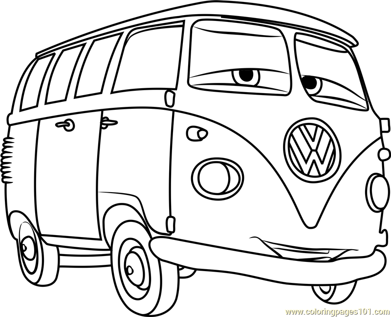 Fillmore from cars 3 coloring page free cars 3 coloring for Cars cartoon coloring pages