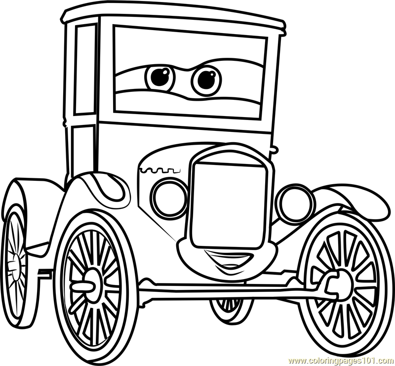 Lizzie from Cars 3 Coloring Page