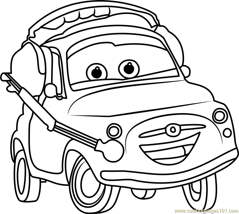 Luigi from cars 3 coloring page free cars 3 coloring for Cars three coloring pages
