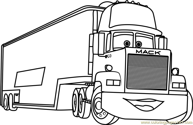 Mack from Cars 3 Coloring Page Free Cars 3 Coloring Pages
