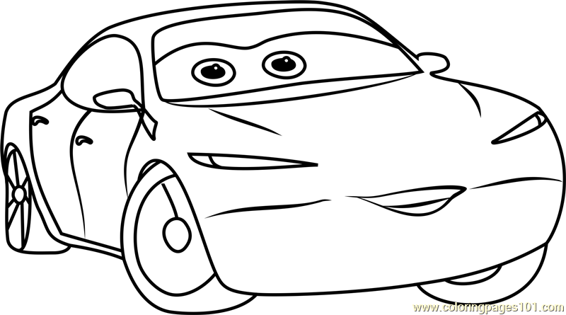 Natalie Certain from Cars 3 Coloring Page