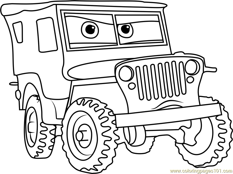 Sarge from Cars 3 Coloring Page
