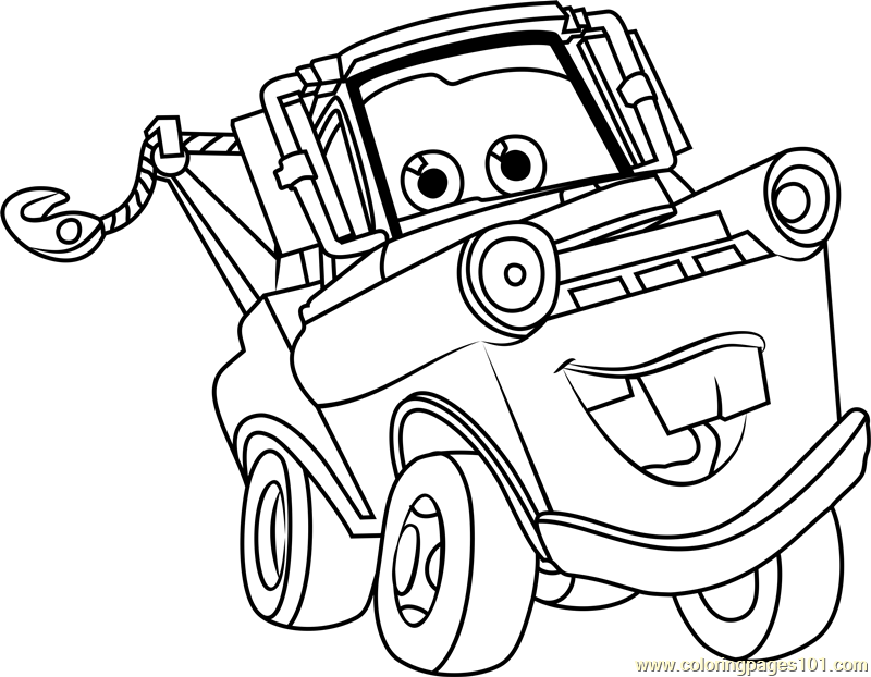 Tow mater from cars 3 coloring page free cars 3 coloring for Cars three coloring pages