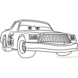 Chick Hicks from Cars 3 Free Coloring Page for Kids