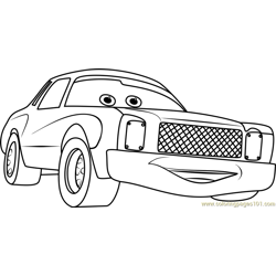 Darrell Cartrip from Cars 3 Free Coloring Page for Kids