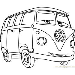 Fillmore from Cars 3 Free Coloring Page for Kids
