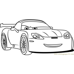 Jeff Gorvette from Cars 3 Free Coloring Page for Kids