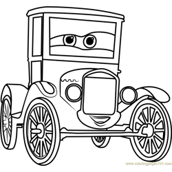 Lizzie from Cars 3 Free Coloring Page for Kids