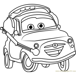 Luigi from Cars 3 Free Coloring Page for Kids
