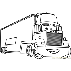 Mack from Cars 3 Free Coloring Page for Kids