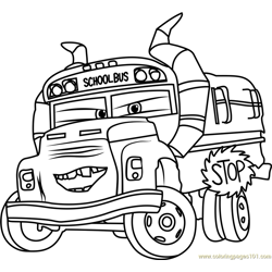 Miss Fritter from Cars 3 Free Coloring Page for Kids