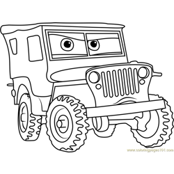 Sarge from Cars 3 Free Coloring Page for Kids