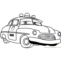 Sheriff from Cars 3 Free Coloring Page for Kids