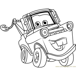Tow Mater from Cars 3 Free Coloring Page for Kids