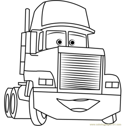 Mack Trailer Free Coloring Page for Kids