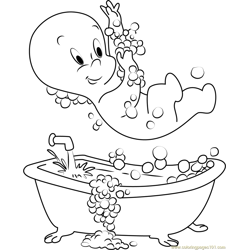 Casper taking Shower Free Coloring Page for Kids