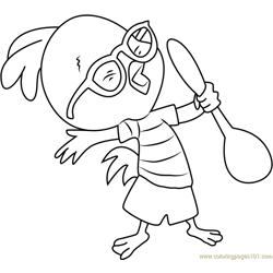 Chicken Little with Spoon Free Coloring Page for Kids