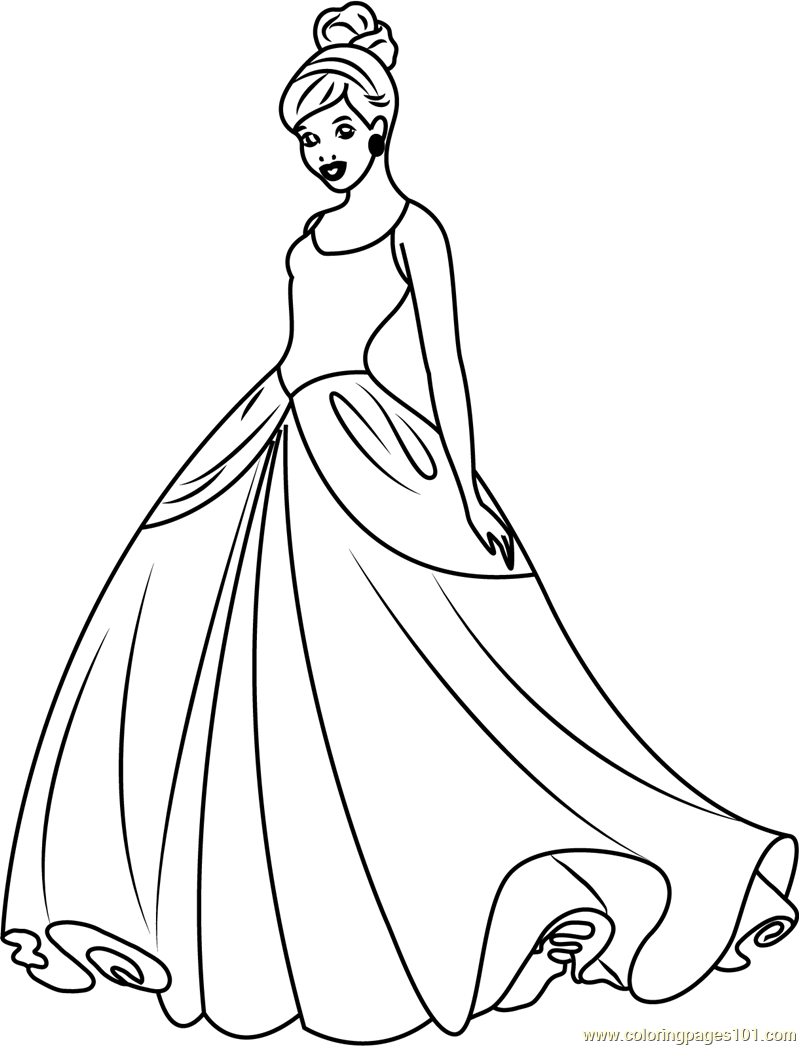 Disney Princess Coloring Pages Download : Cinderella disney princess coloring page free