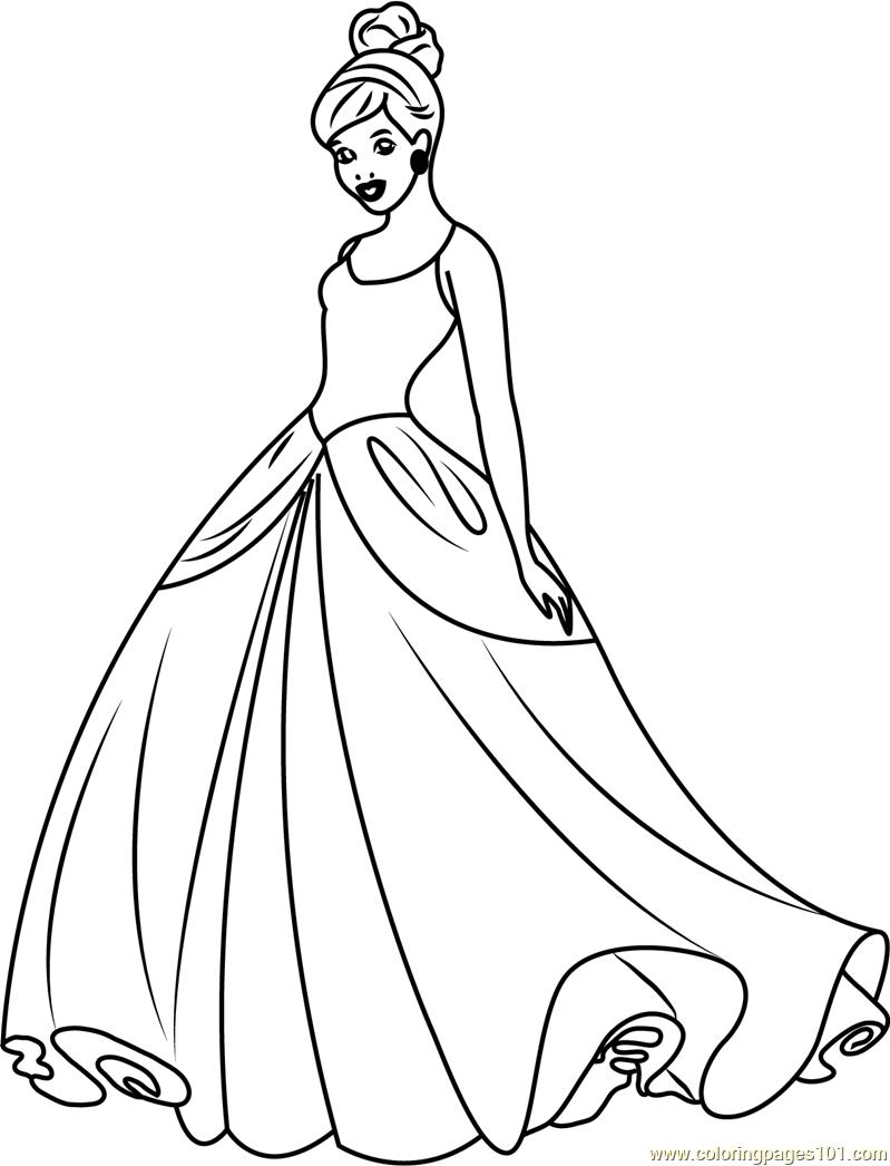 Cinderella Disney Princess Coloring Page for Kids - Free ...