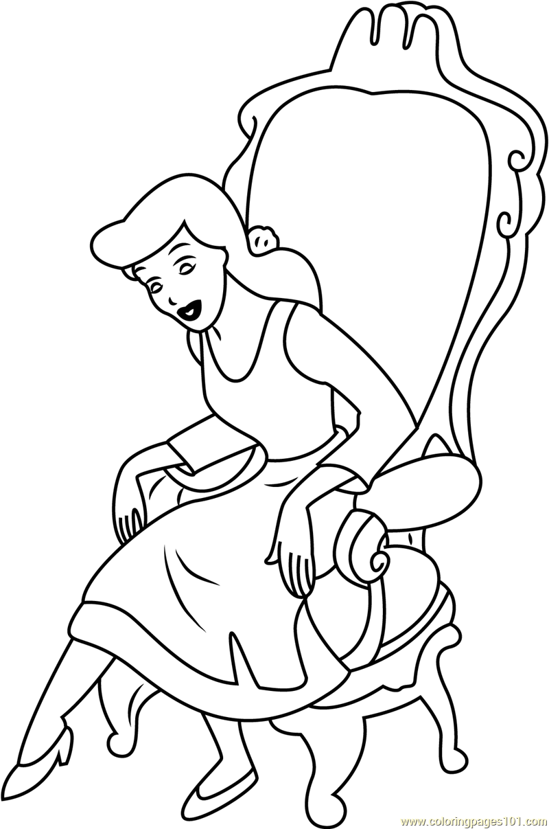 Chair drawing for kids - Cinderella Sitting On Chair Printable Coloring Page For Kids And Adults