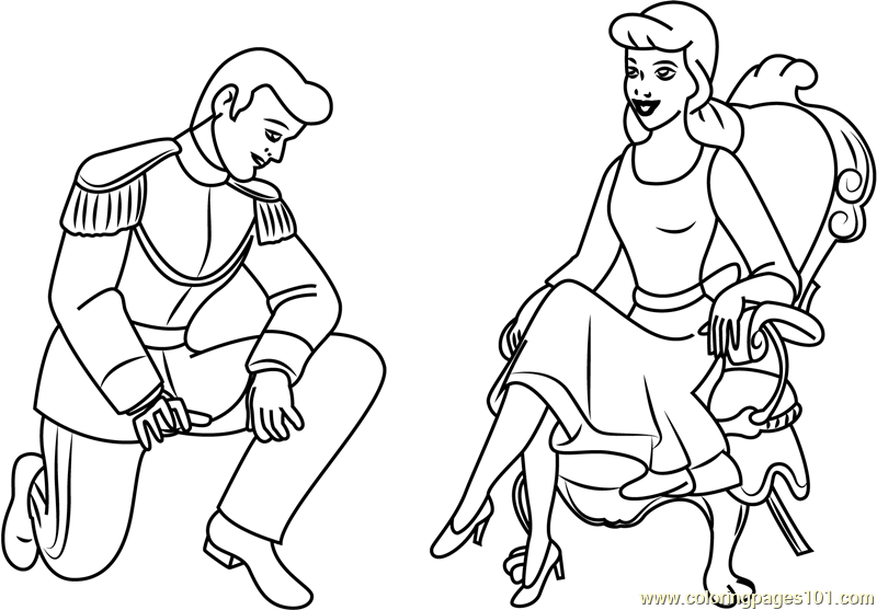 Cinderella and Prince Coloring Page