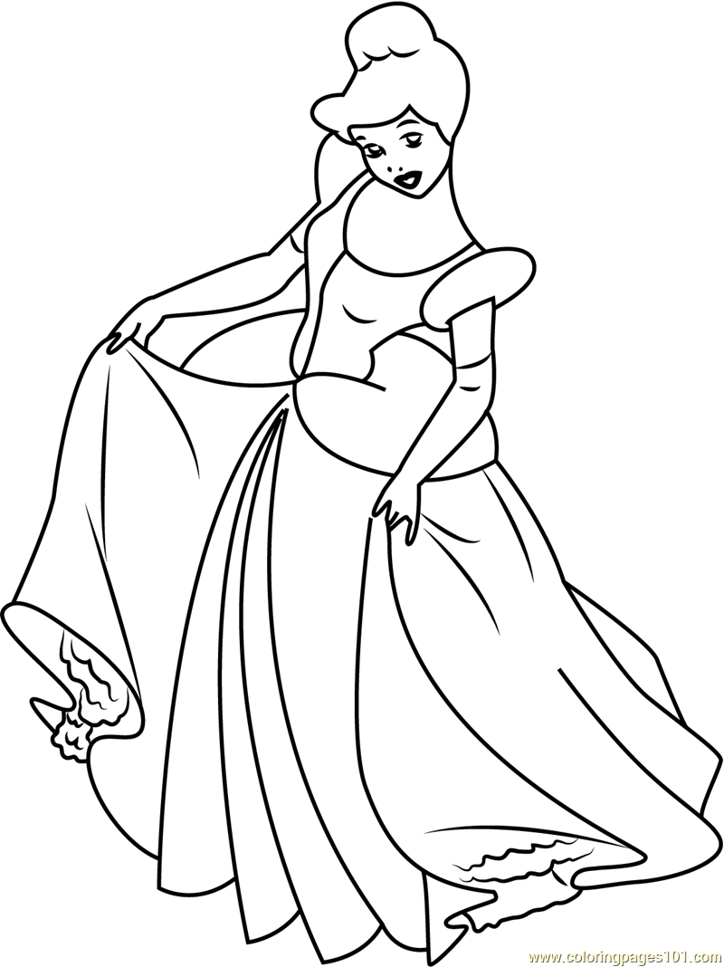 Cinderella See Her Dress Coloring Page