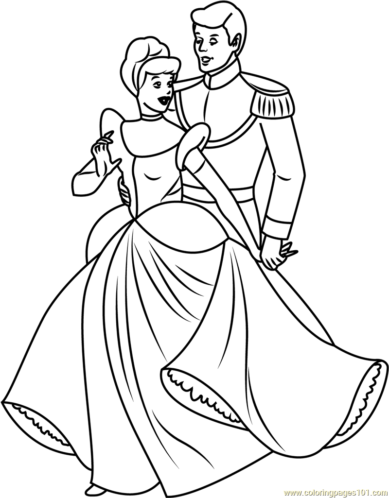 Free Coloring Pages Of Cinderella And Prince