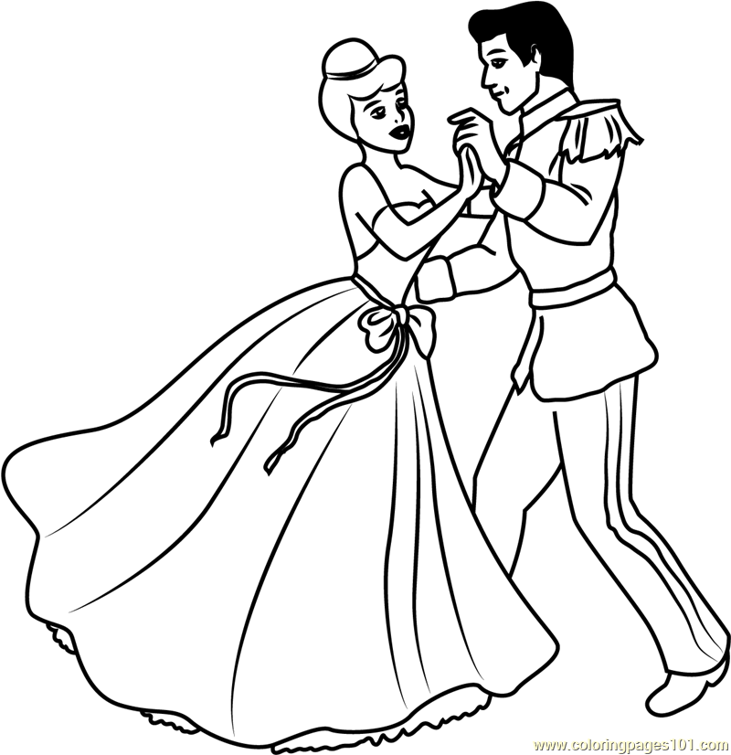 Disney Best Couple Prince and Cinderella Coloring Page - Free ...