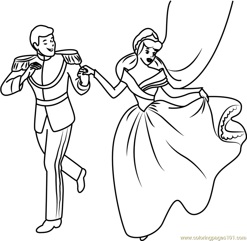 Happy Cinderella and Prince Coloring Page