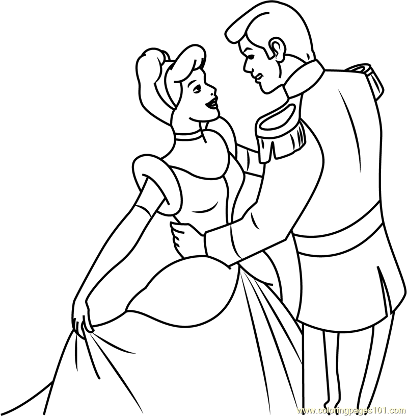 Prince Charming And Cinderella Coloring Page