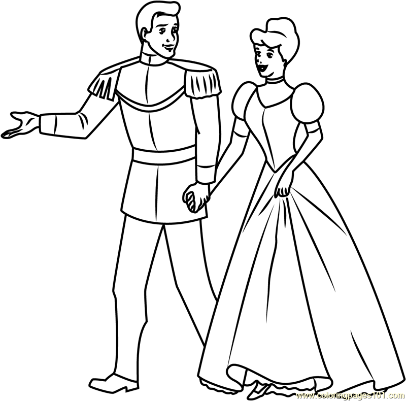 Prince and Cinderella Going Coloring Page