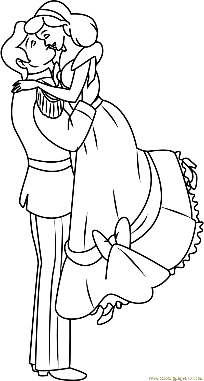 Sweet Couple Coloring Page Free