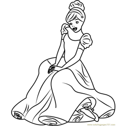 Cinderella Sitting Free Coloring Page for Kids