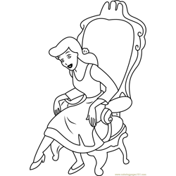 Cinderella Sitting on Chair Free Coloring Page for Kids