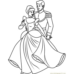 Cinderella with Prince Free Coloring Page for Kids