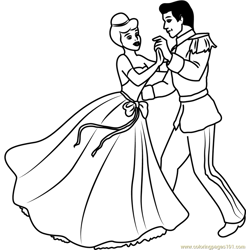 Disney Best Couple Prince and Cinderella Free Coloring Page for Kids