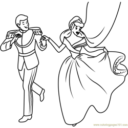 Happy Cinderella and Prince Free Coloring Page for Kids