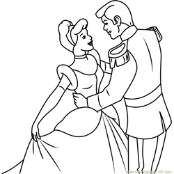 Prince Charming And Cinderella Free Coloring Page for Kids