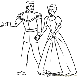 Prince and Cinderella Going Free Coloring Page for Kids