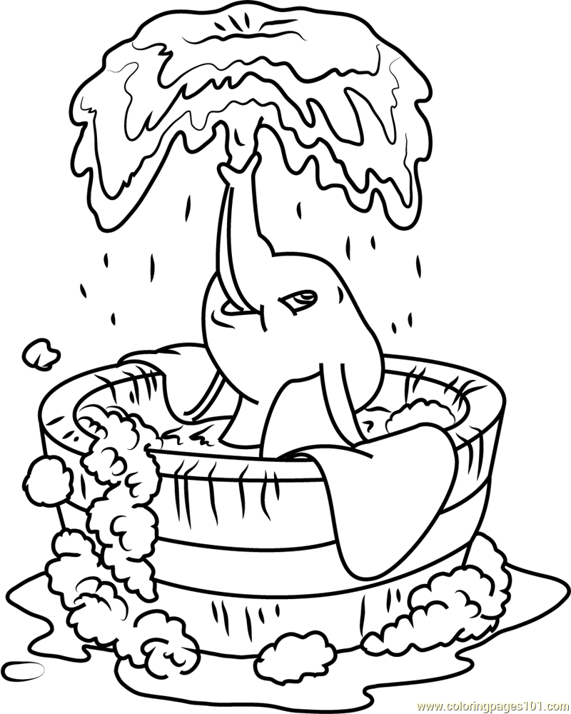 Dumbo Bath printable coloring page for kids and adults