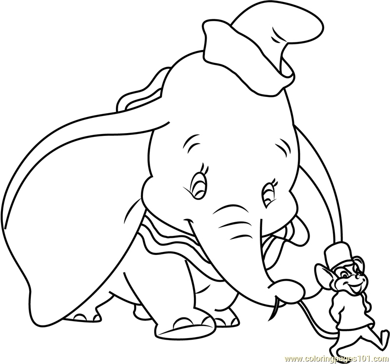Dumbo Going with Mouse Coloring Page