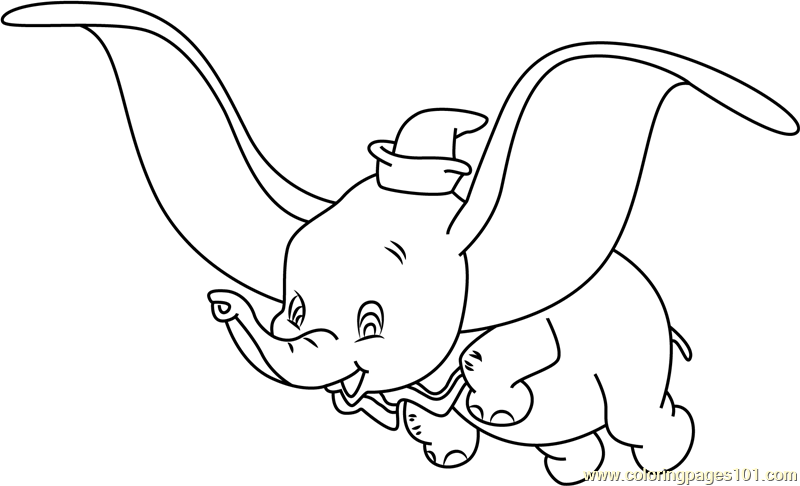 Dumbo elephant coloring pages for Dumbo the elephant coloring pages