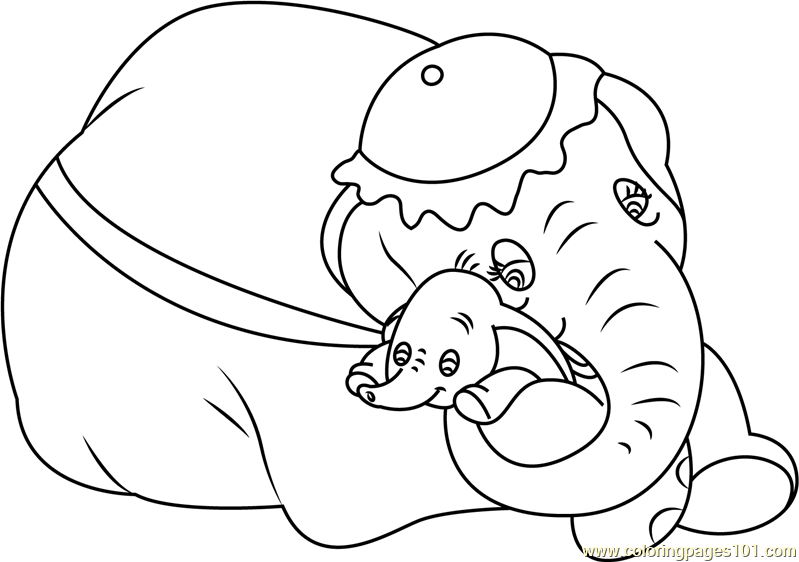 Mom and baby dumbo coloring page free dumbo coloring for Mom and baby coloring pages