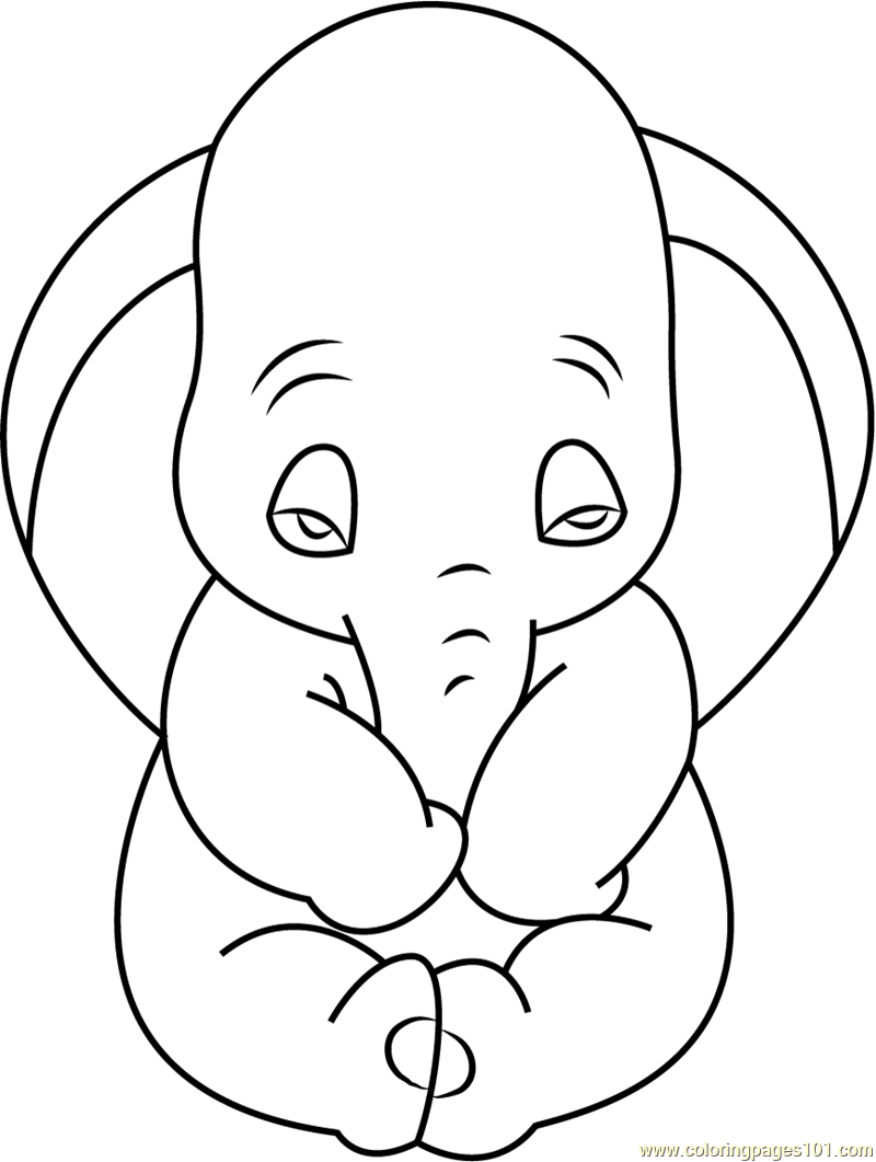 Sad Dumbo Coloring Page