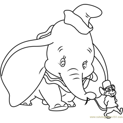 Dumbo Going with Mouse Free Coloring Page for Kids