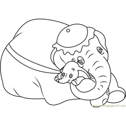 Mom and Baby Dumbo Free Coloring Page for Kids